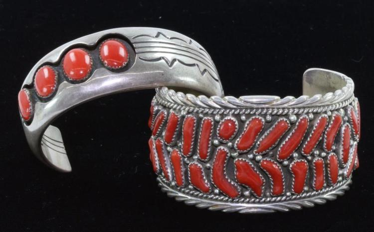 TWO NATIVE AMERICAN BRACELETS CORAL AND STERLING SILVER