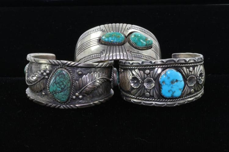 THREE (3) NATIVE AMERICAN TURQUOISE STERLING SILVER CUFF BRACELETS