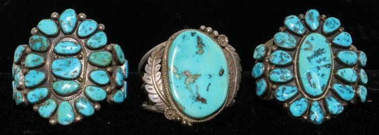 THREE (3) NATIVE AMERICAN TURQUOISE STERLING SILVER  BRACELETS