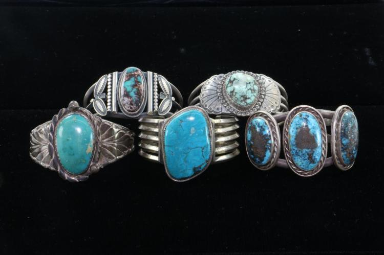 FIVE (5) NATIVE AMERICAN TURQUOISE STERLING SILVER BRACELETS