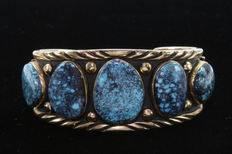 NATIVE AMERICAN TURQUOISE  14K GOLD CUFF BRACELET