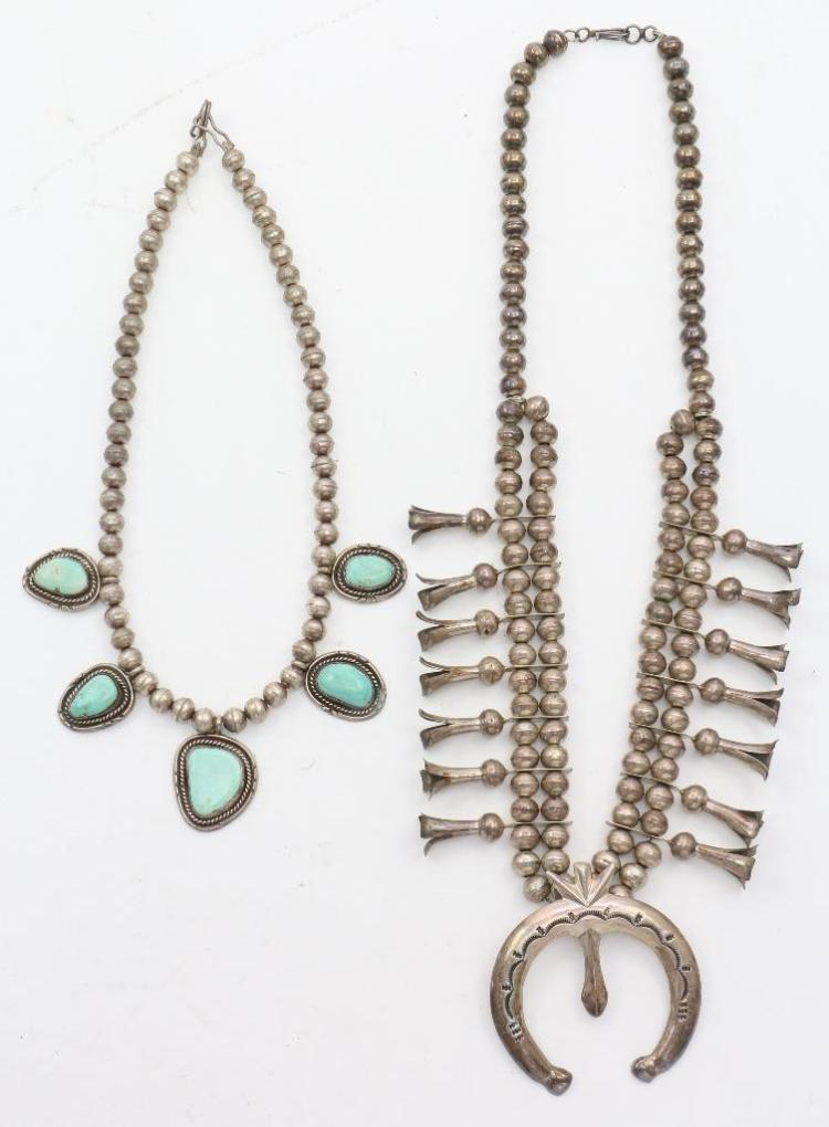 TWO (2) NATIVE AMERICAN NAVAJO SILVER AND TURQUOISE NECKLACES