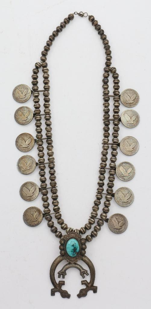 SOUTHWEST COIN SQUASH BLOSSOM NECKLACE