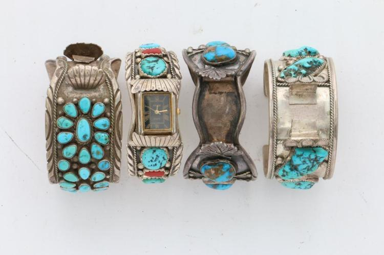 FOUR (4) NATIVE AMERICAN TURQUOISE SILVER CUFF WATCH BRACELETS