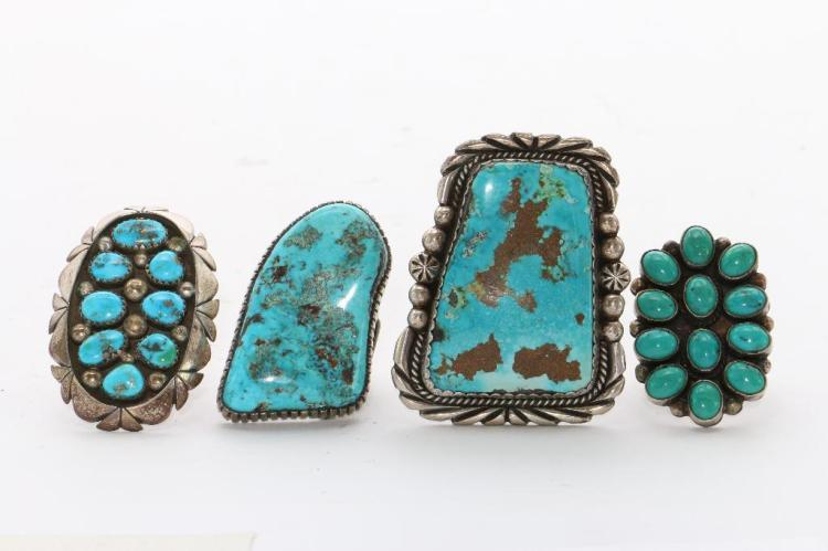 NATIVE AMERICAN TURQUOISE SILVER RINGS