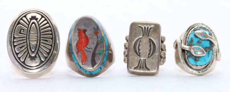 NATIVE AMERICAN TURQUOISE STERLING RINGS