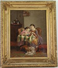 American school (19th century) Girls sewing