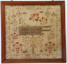 A silk and linen Adam and Eve sampler, 1852