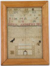A silk and linen Needlework sampler 1803