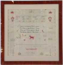A silk and linen needlework sampler, 1806