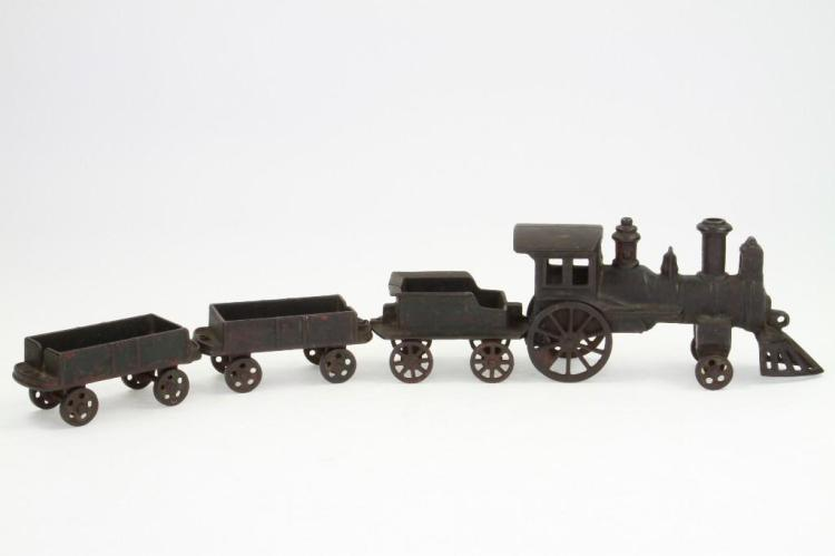 Cast Iron Steam Locomotive Freight Set