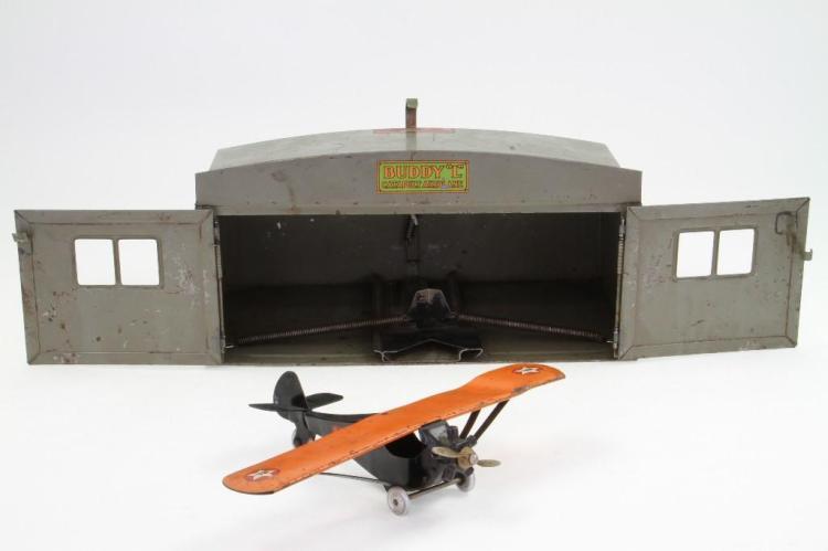 Buddy L Hangar with Mono Coupe Airplane