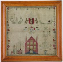A silk and linen needlework sampler, 1757