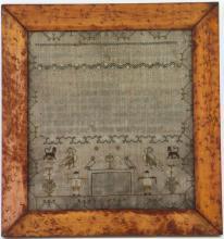 A silk and linen needlework sampler, 1812