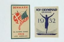 1932 OLYMPICS LOT OF A PROGRAM AND DENMARK DECAL