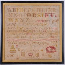 ALPHABET & NUMERAL SAMPLER: ELIZABETH WIMPERTS, 1879
