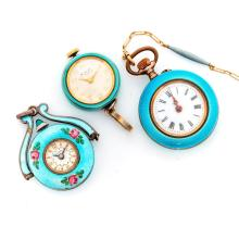 Antique enamel pendant watches and watch chain