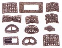 Collection of 12 vintage rhinestone buckles