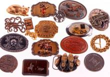 Collection of assorted brass and metal belt buckles