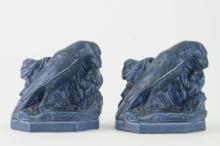 PAIR OF ROOKWOOD POTTERY BLUE GLAZE ROOK BOOKENDS, 1938