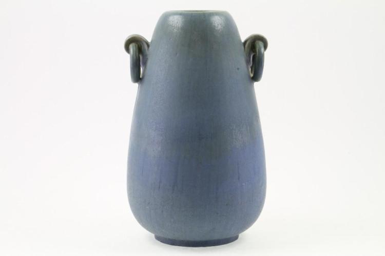 FULPER BLUE GLAZED POTTERY LARGE RING HANDLED VASE