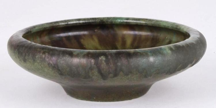 FULPER POTTERY GREEN FLAMBE GLAZED LOW BOWL