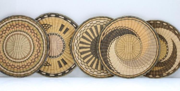 Five Hopi wicker plaques