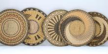 Five Hopi wicker plaques