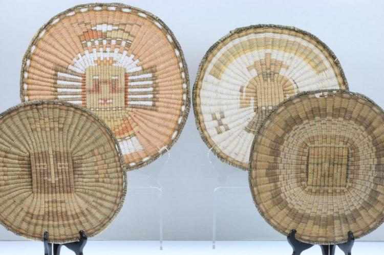 Four Hopi pictorial wicker plaques