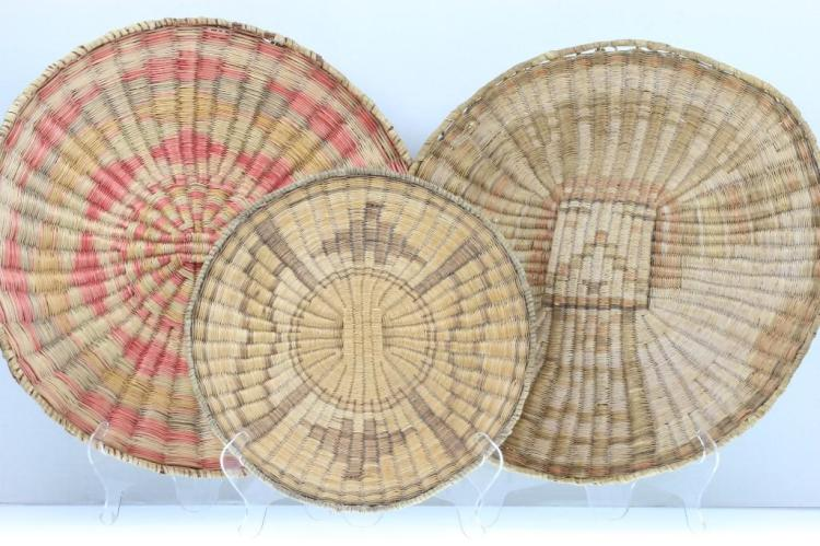 Three Hopi wicker plaques