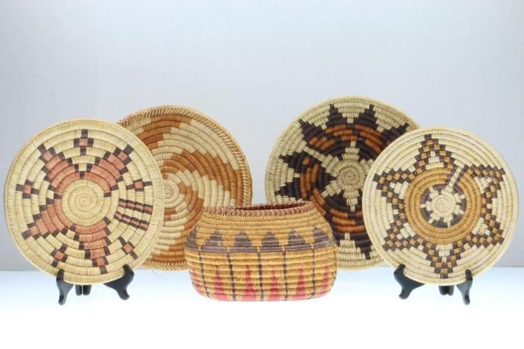 Five Navajo baskets
