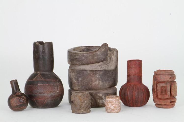Seven Olmec/Olmecoid ceramic items