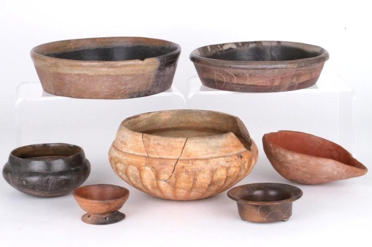 Seven Mexican pre-Columbian vessels