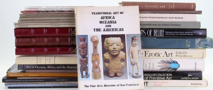 Thirty-two books and auction catalogues on tribal and a