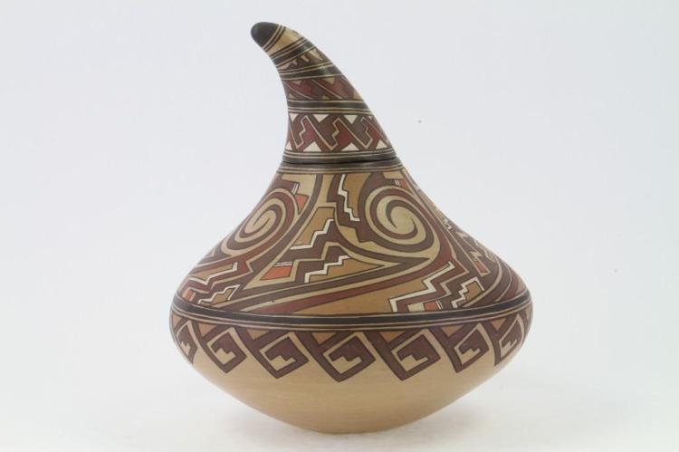 Unusual Santa Clara lidded gourd-form vessel
