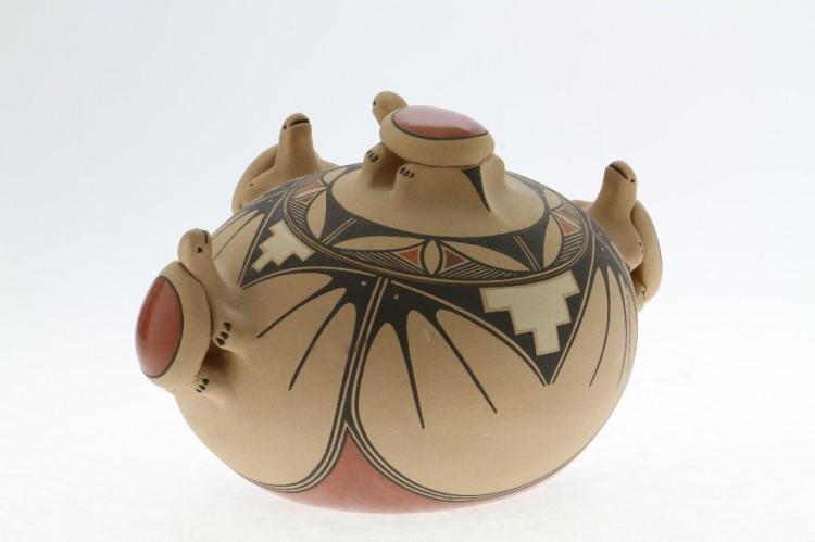 Jemez polychrome lidded jar