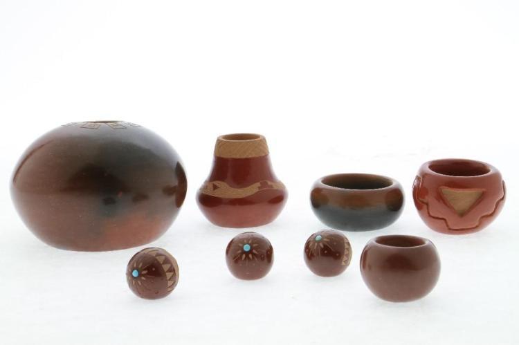 Eight Pueblo miniatures