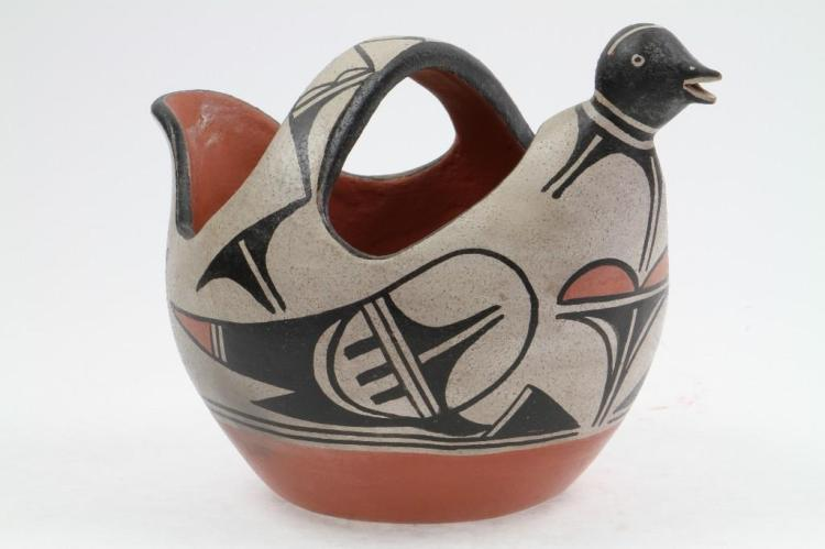 Santo Domingo polychrome bird effigy pitcher