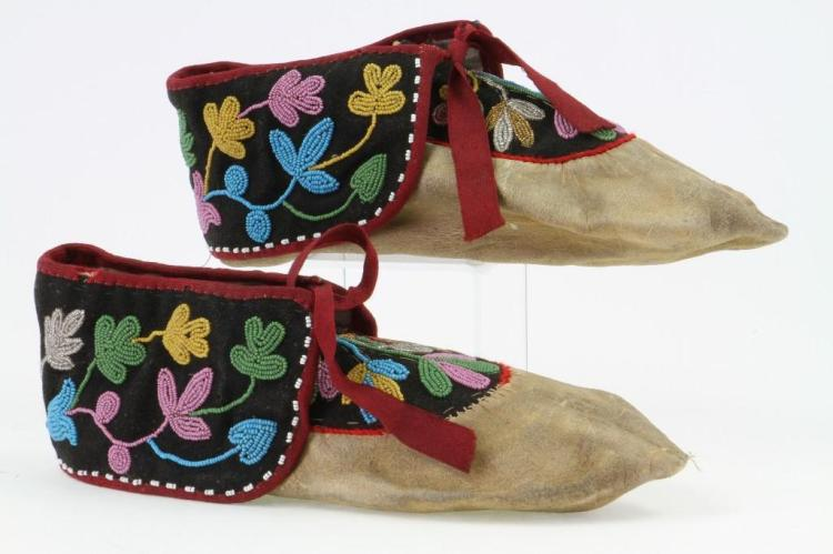 Pair of Ojibwa beaded moccasins