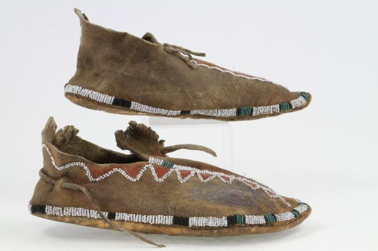 Pair of Apache beaded moccasins