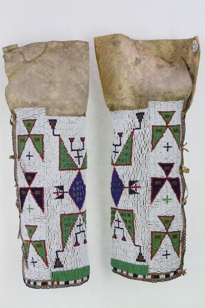 Pair of Sioux beaded woman's leggings