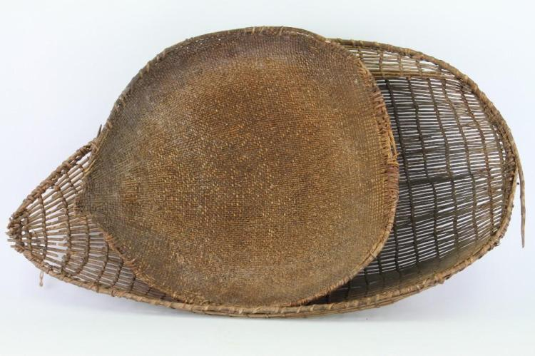 Two Central California basketry utilitarian trays
