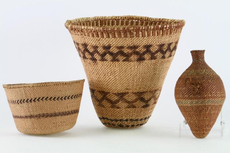 Three Paiute twined basketry items
