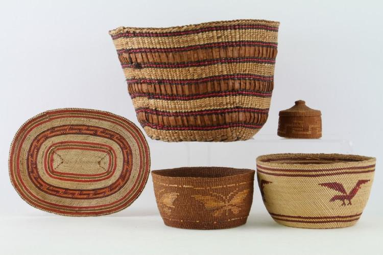 Five Northwest basketry items