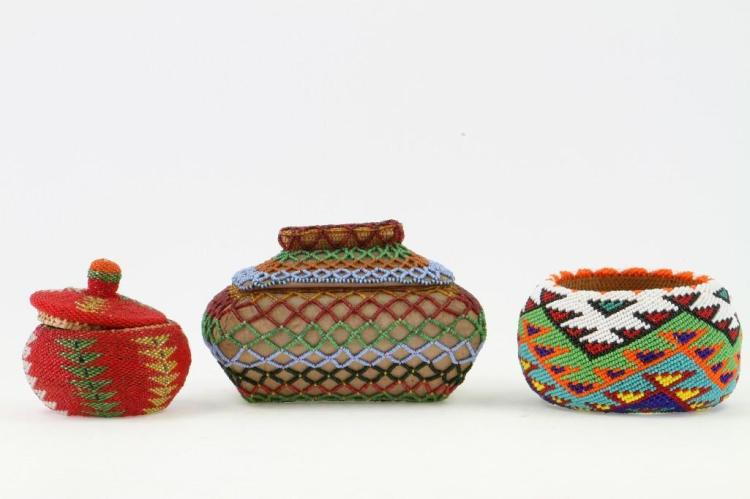 Three Paiute beaded baskets