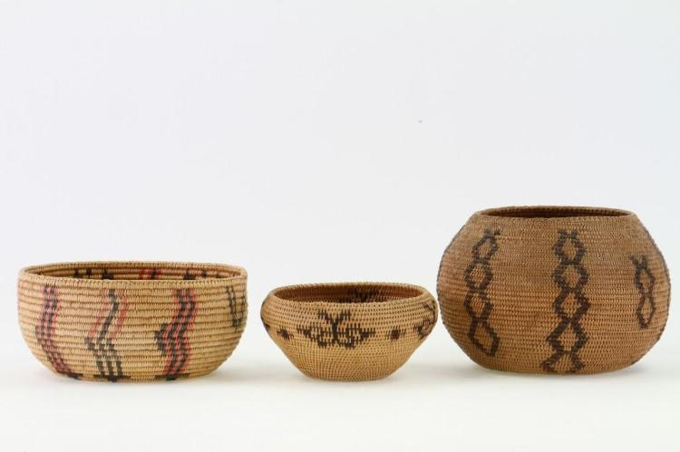 Three Paiute baskets