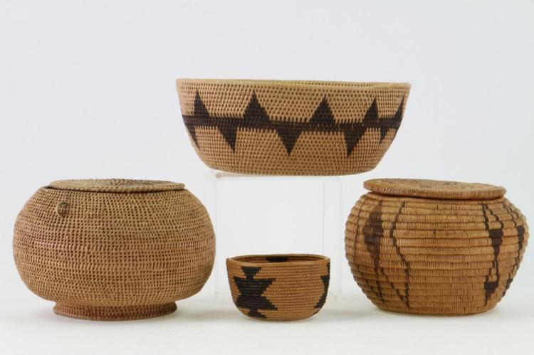 Four Paiute baskets