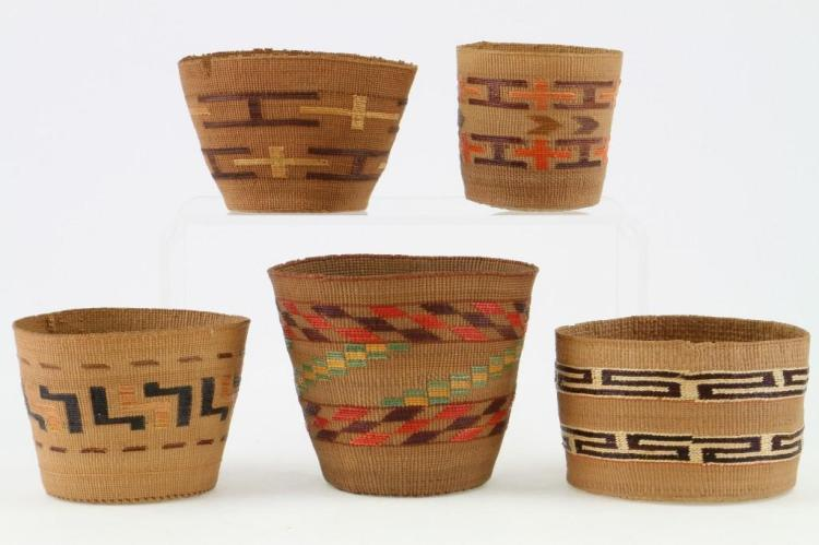 Five Tlingit baskets