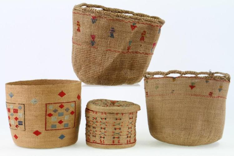 Four Attu baskets