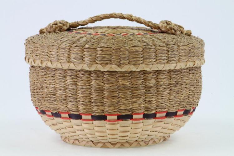 Northeast plaited and sweetgrass lidded basket